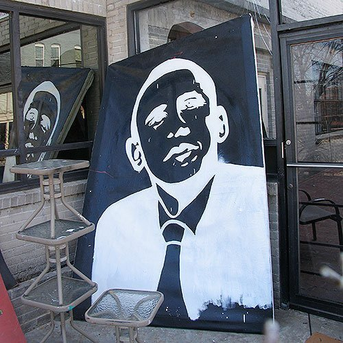 Obama painting white shadows