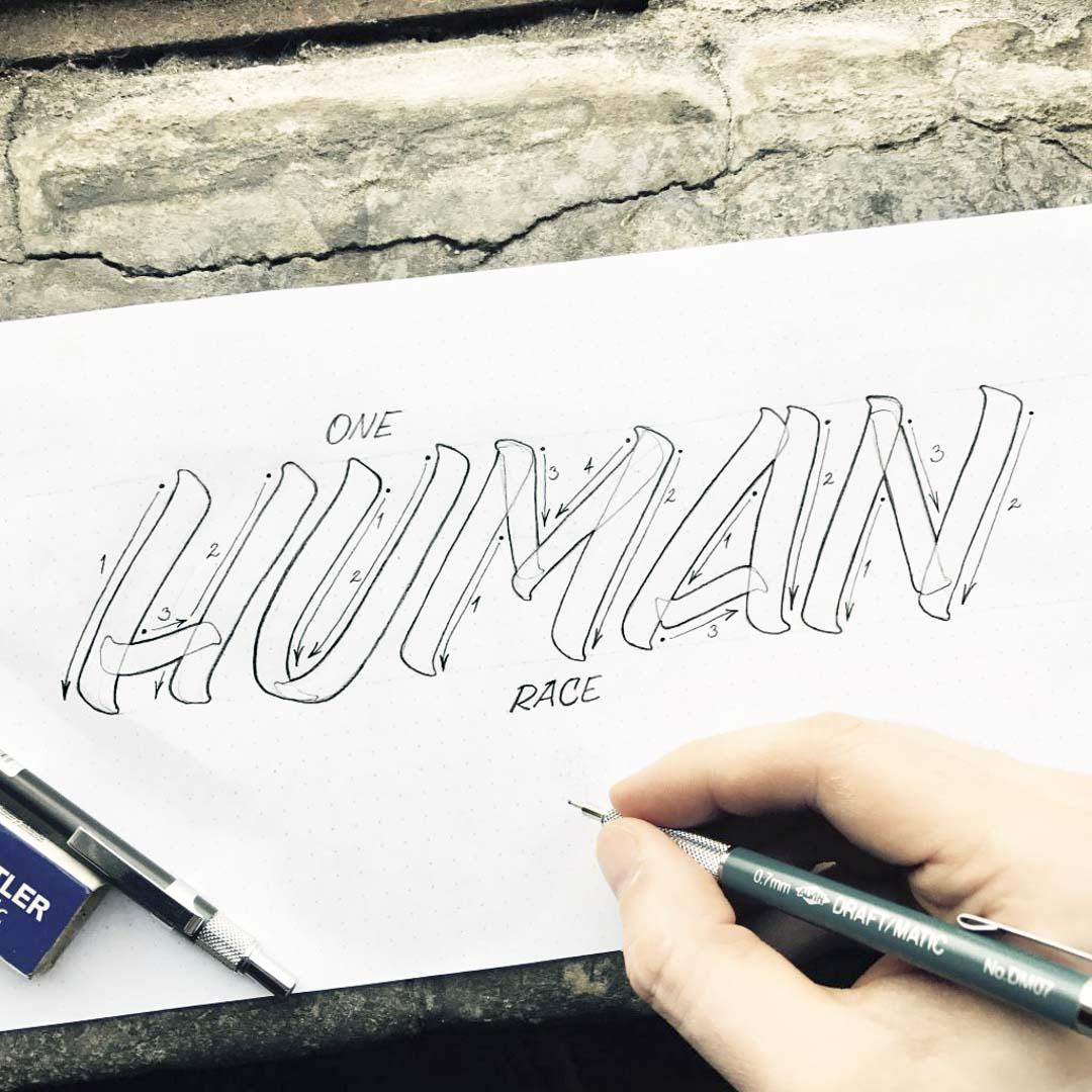 Human Pencil Lettering