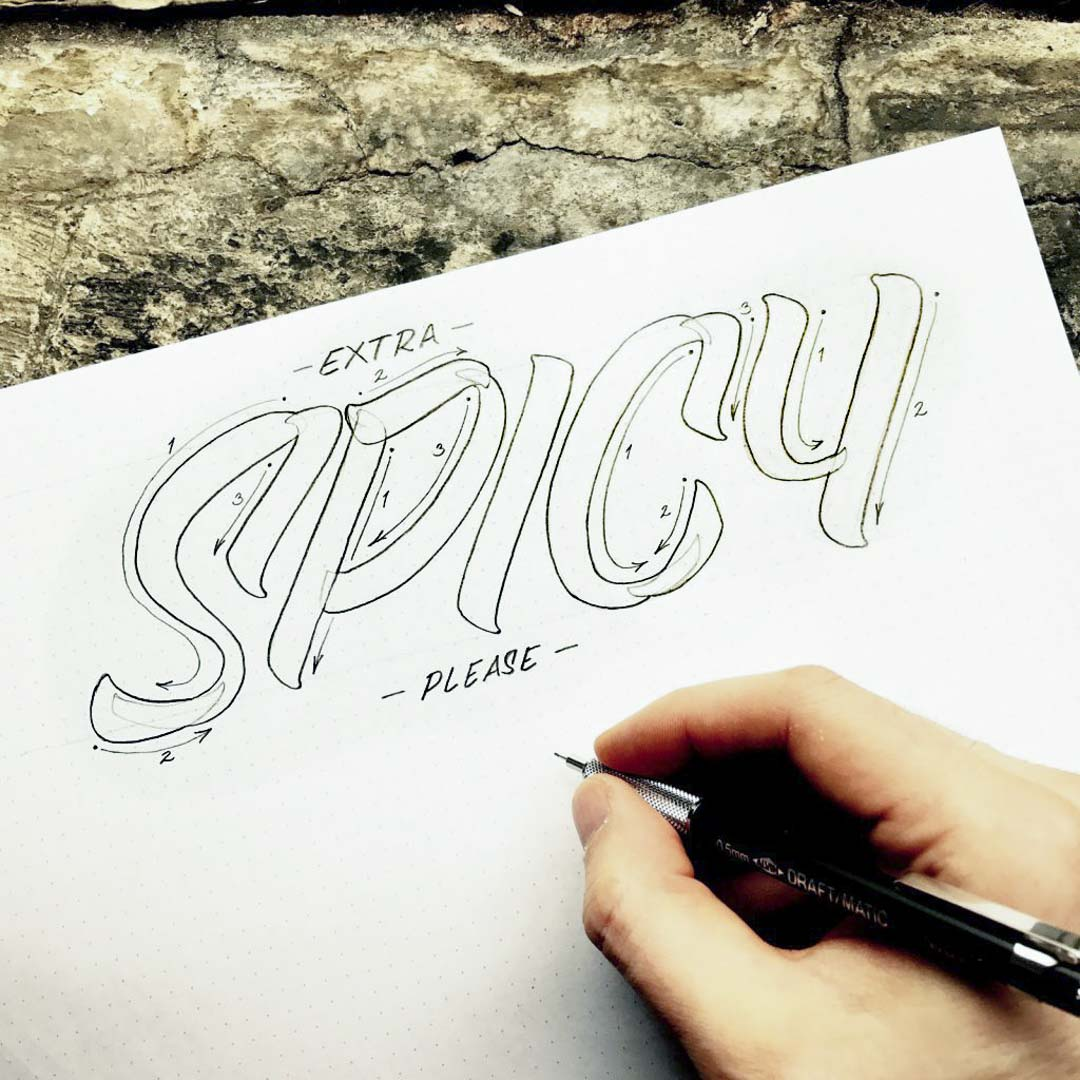 SPICY Pencil Lettering