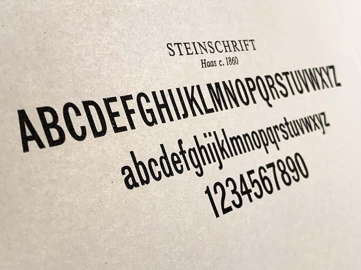 Steinschrift angle sample